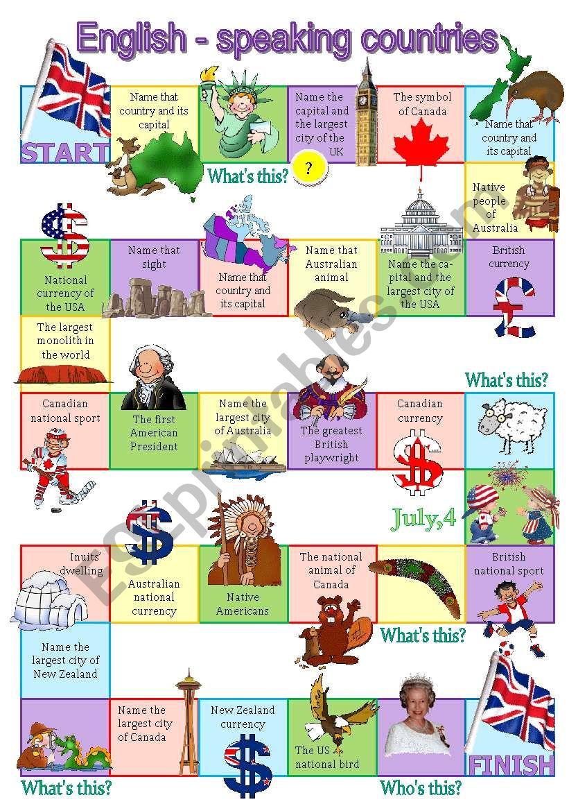 English-speaking countries board game