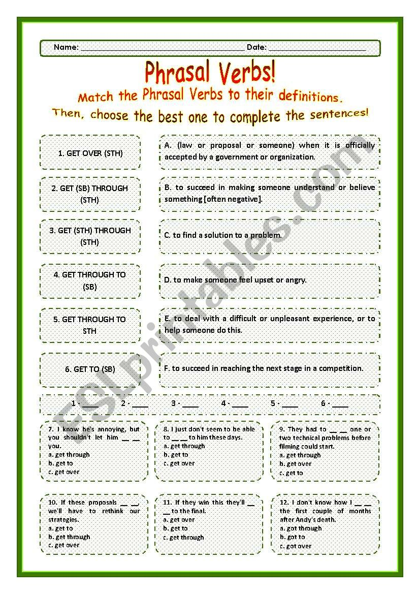 > Phrasal Verbs Practice 52! > --*-- Definitions + Exercise --*-- BW Included --*-- Fully Editable With Key!