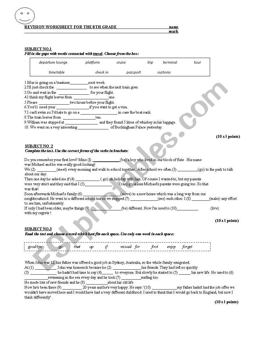 Revision Worksheet For The 8th Grade Esl Worksheet By Crinaoana