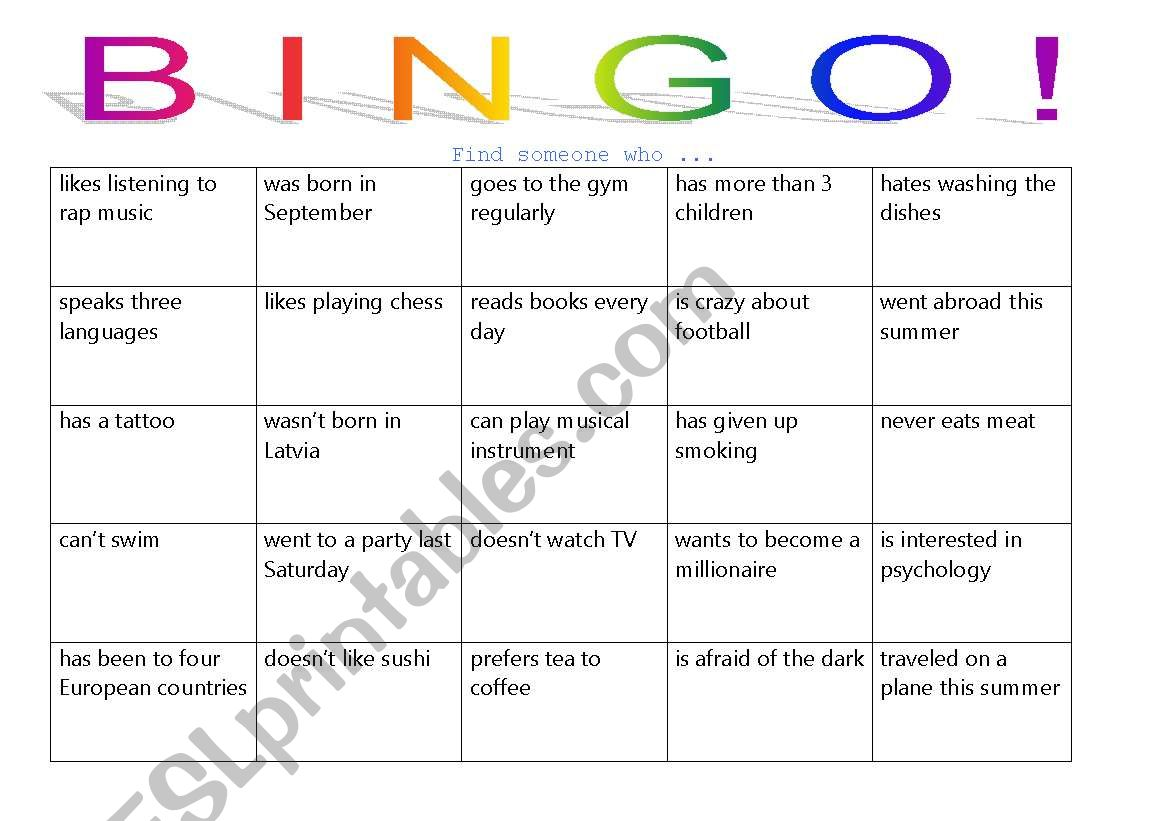 People Bingo! game for adults worksheet