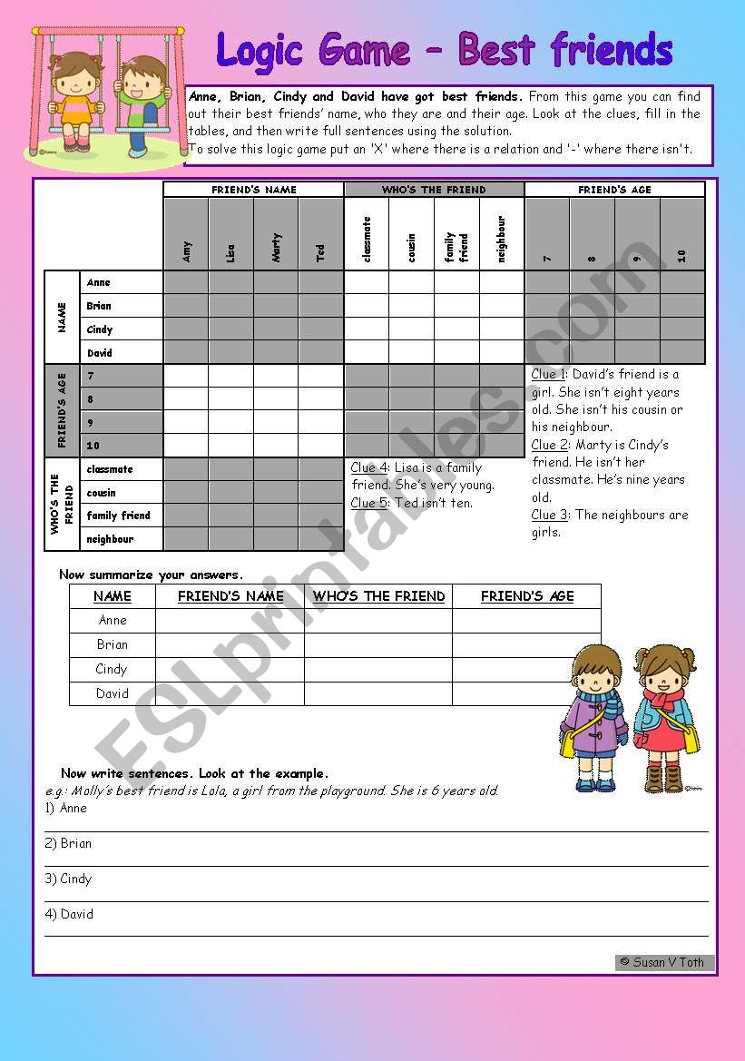 Logic game (33rd) - Best friends *** elementary *** with key *** with step-by-step instructions
