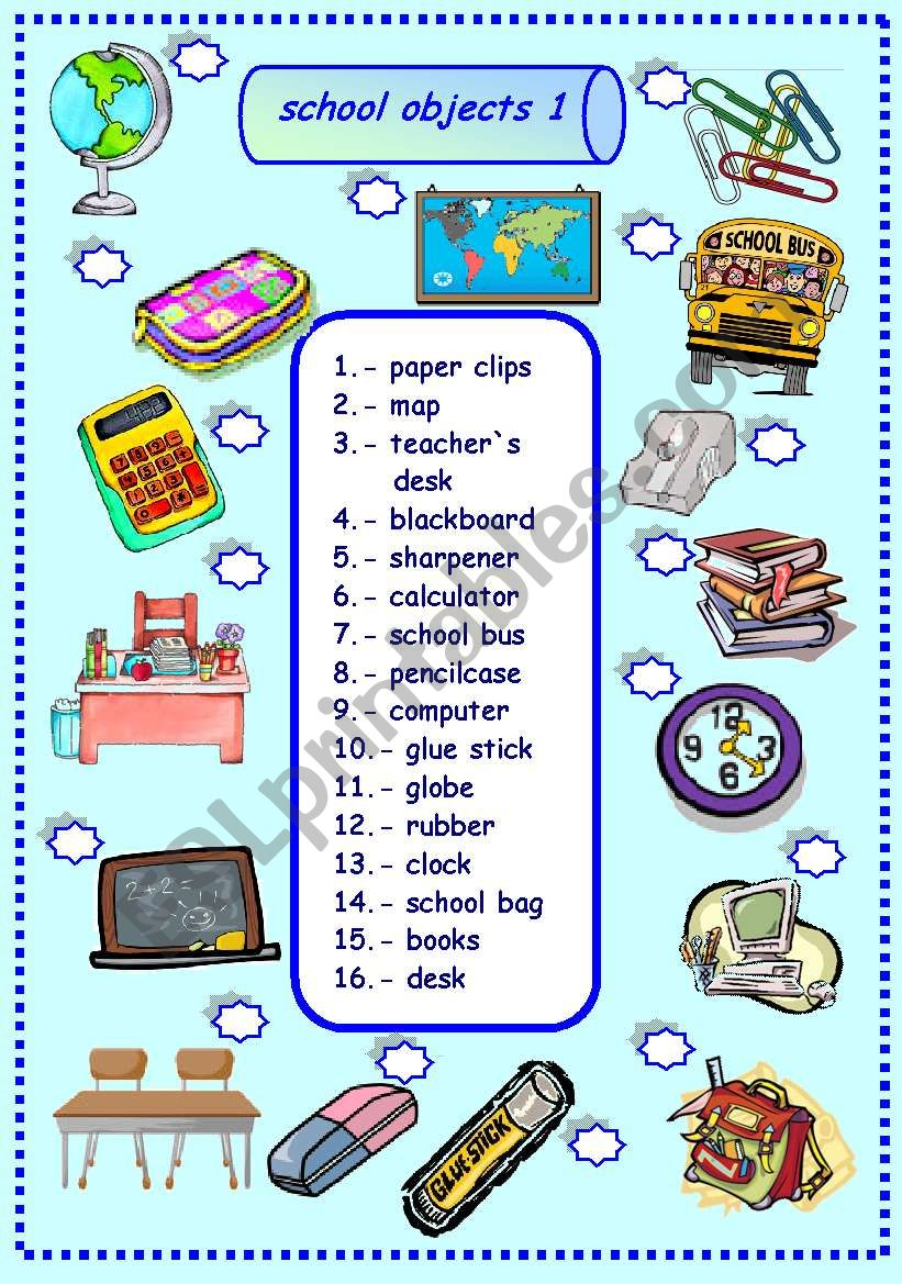 school objects matching 1/3 worksheet