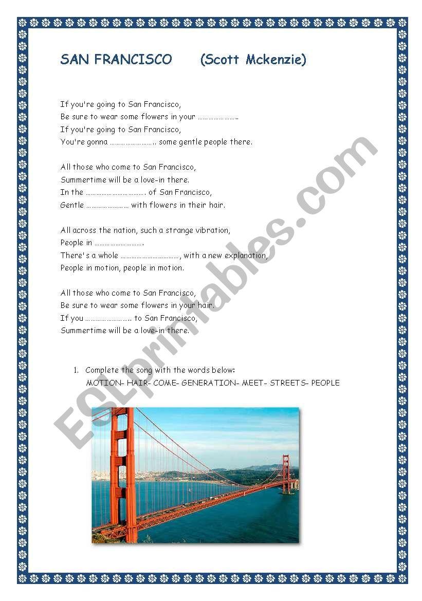SAN FRANCISCO. Song by Scott Mckenzie