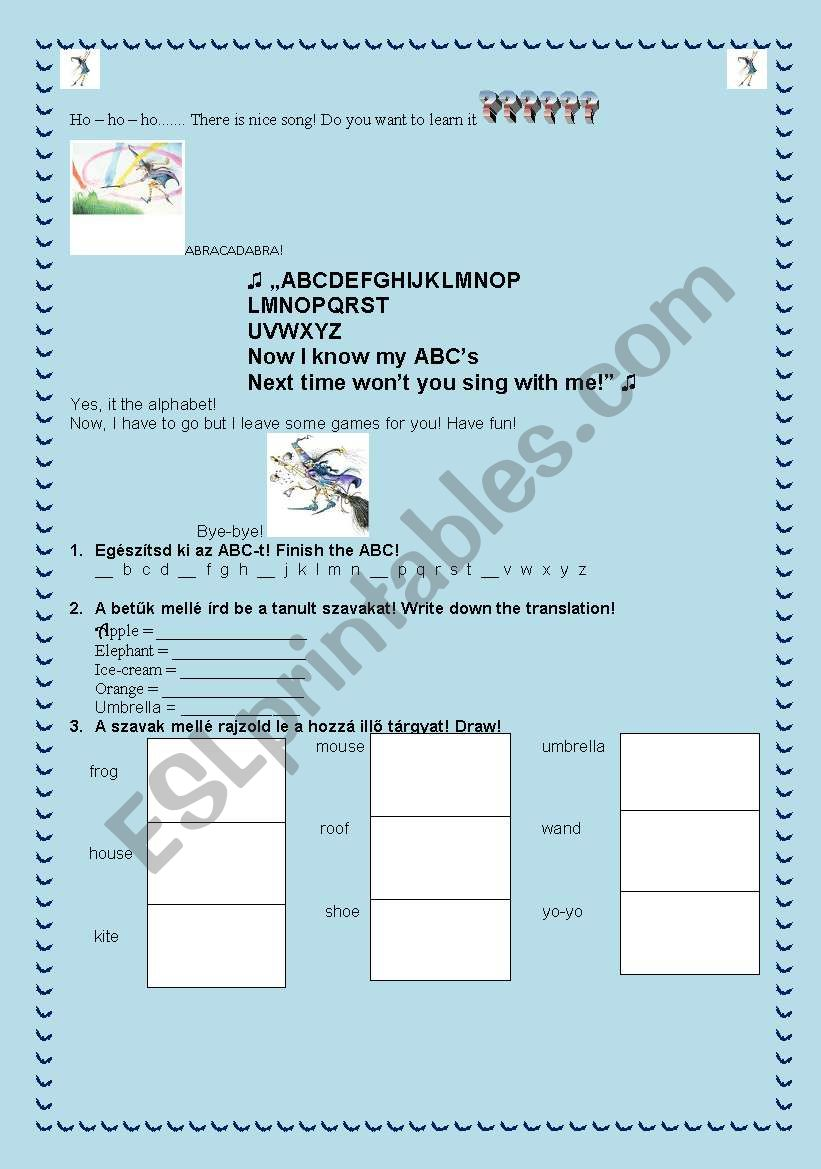 Winnie and the ABC song worksheet