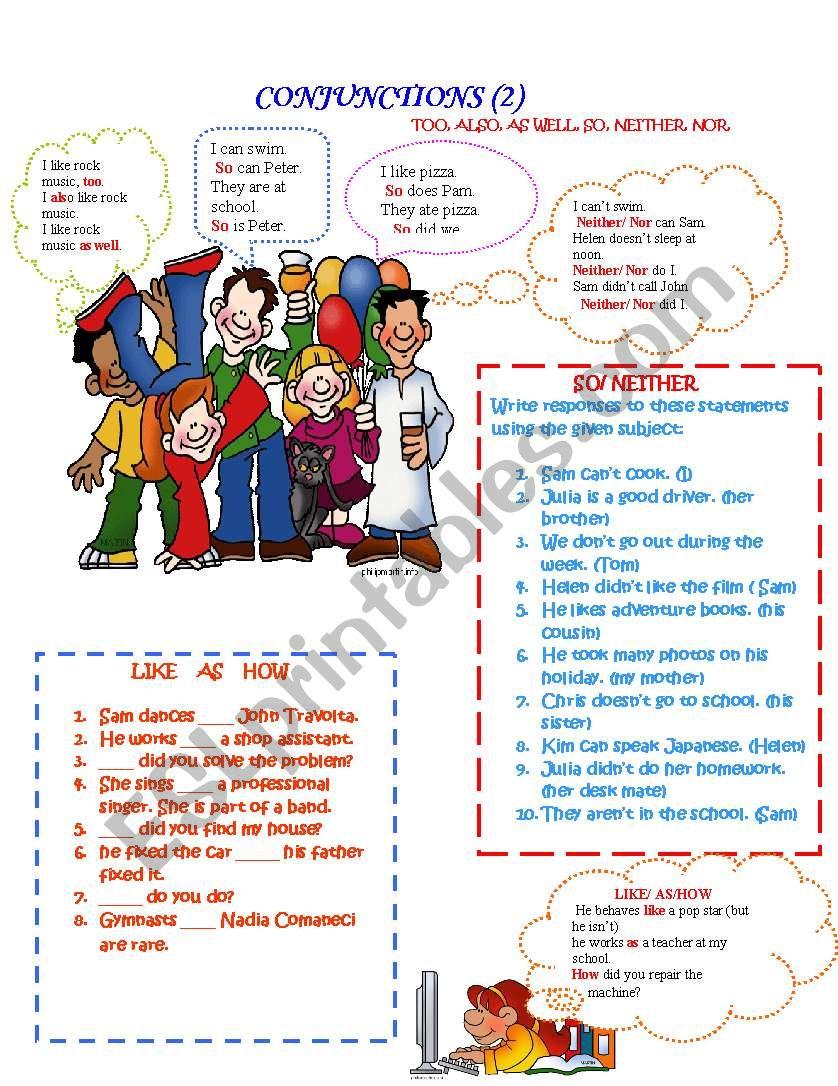 Conjunctions (2) worksheet