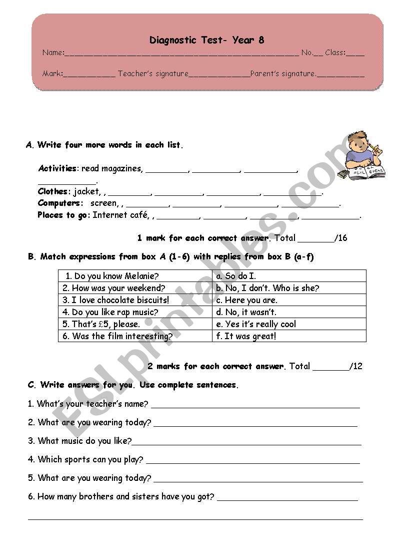Diagnostic/placement Test worksheet
