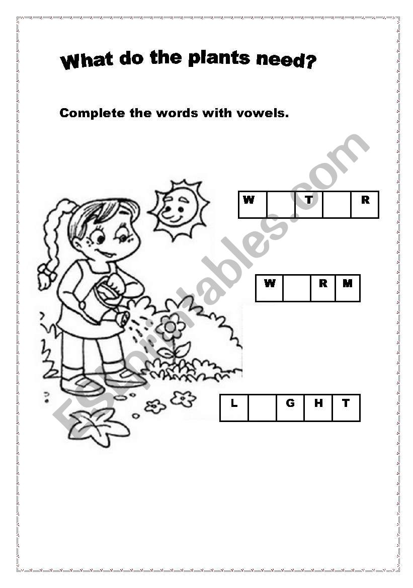 english worksheets  what do plants need