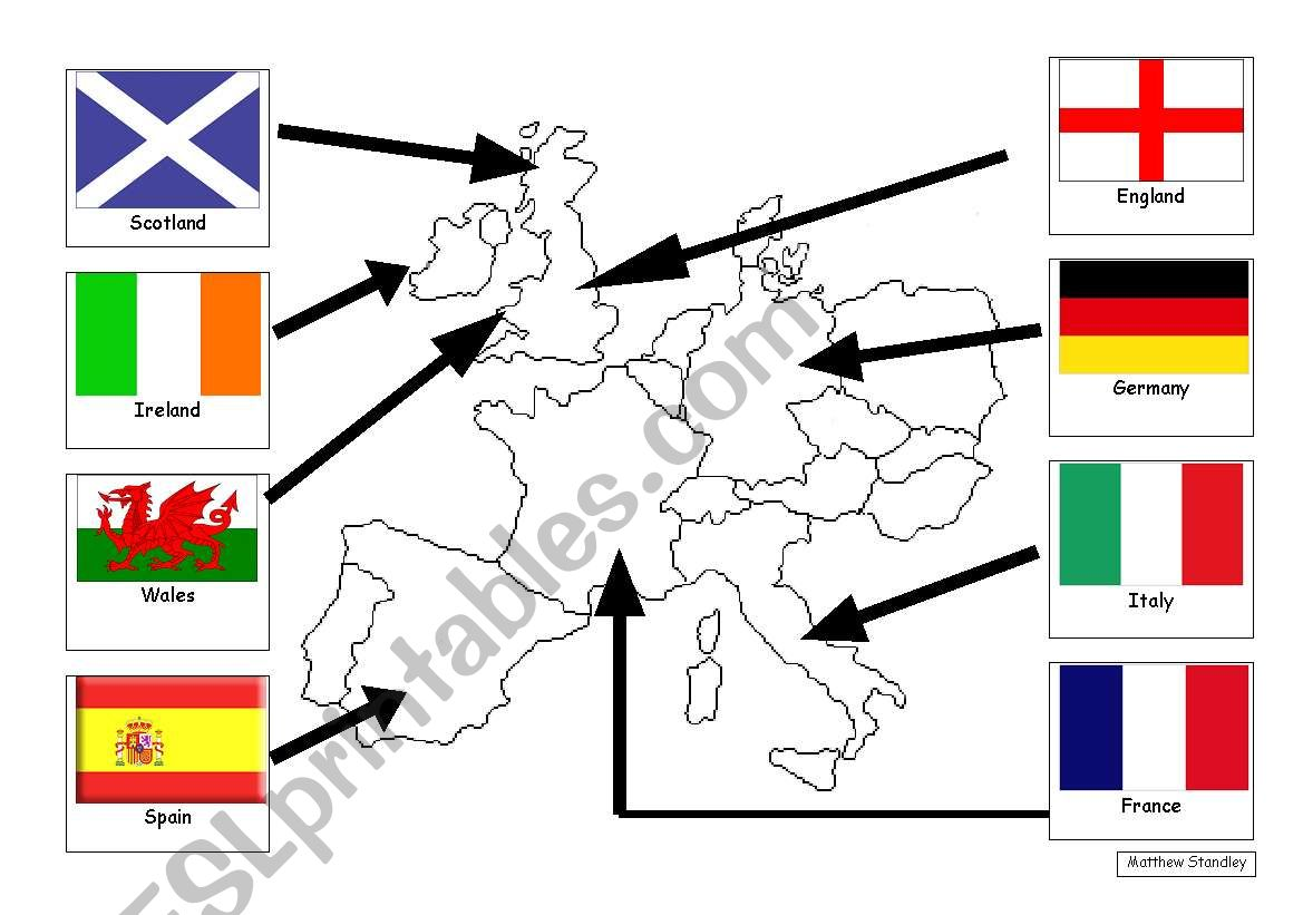 Simple NW Europe map with flags and names - ESL worksheet by Matthew