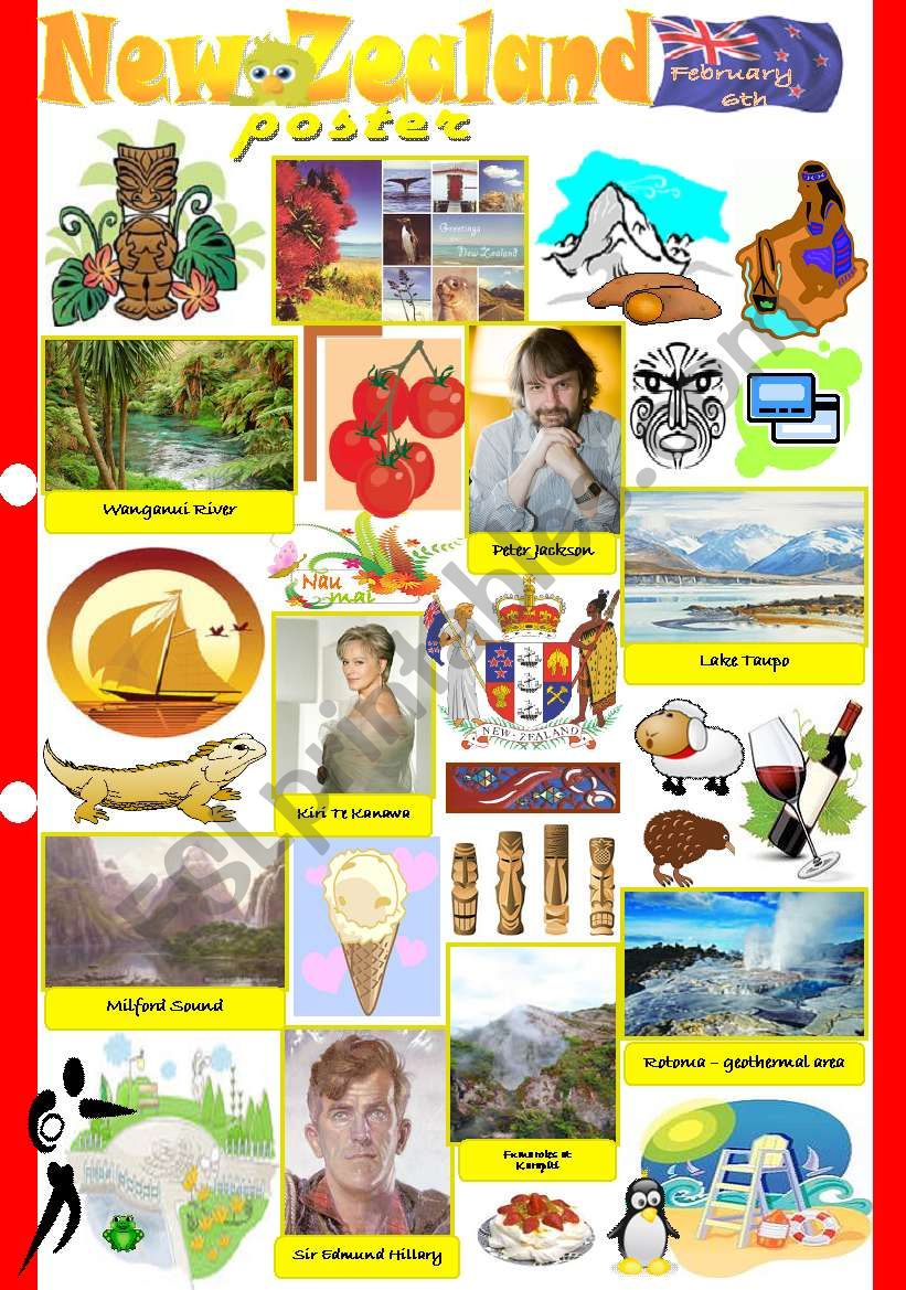 New Zealand poster worksheet