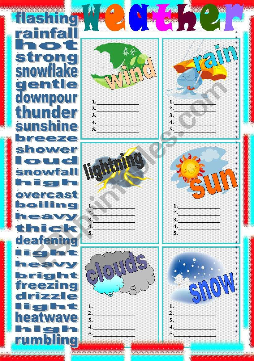 weather elements - ESL worksheet by LILIAAMALIA