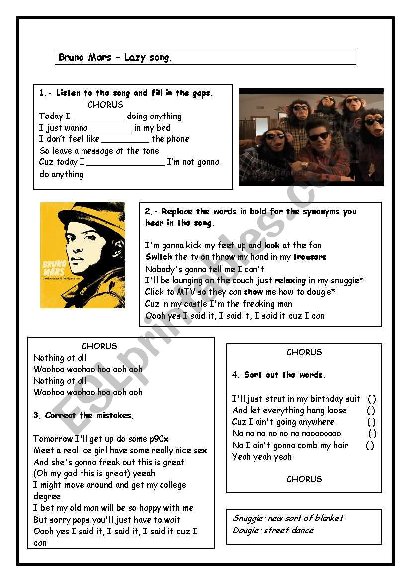 Bruno Mars The Lazy Song worksheet