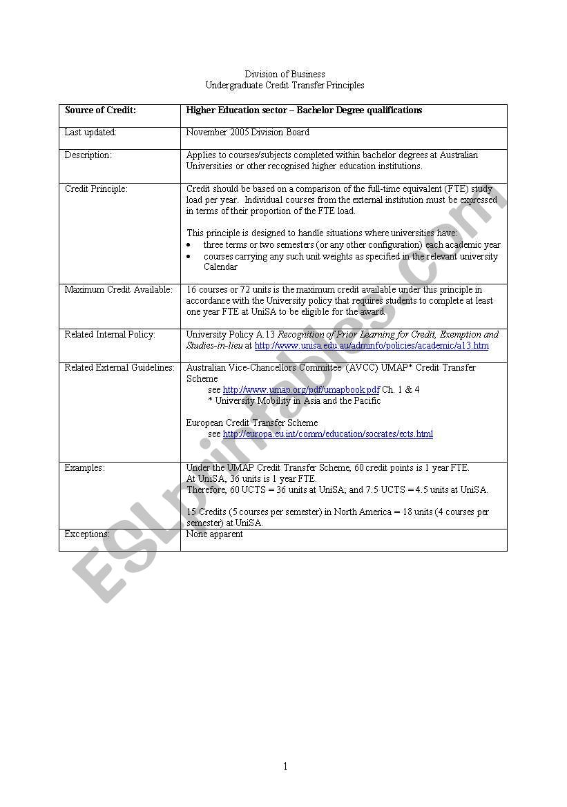 undergraguate transfer information