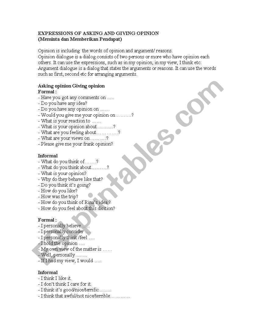 Worksheets Worksheet-asking-and-giving-opinion asking and giving opinion esl worksheet by delta kdryahoo co id worksheet