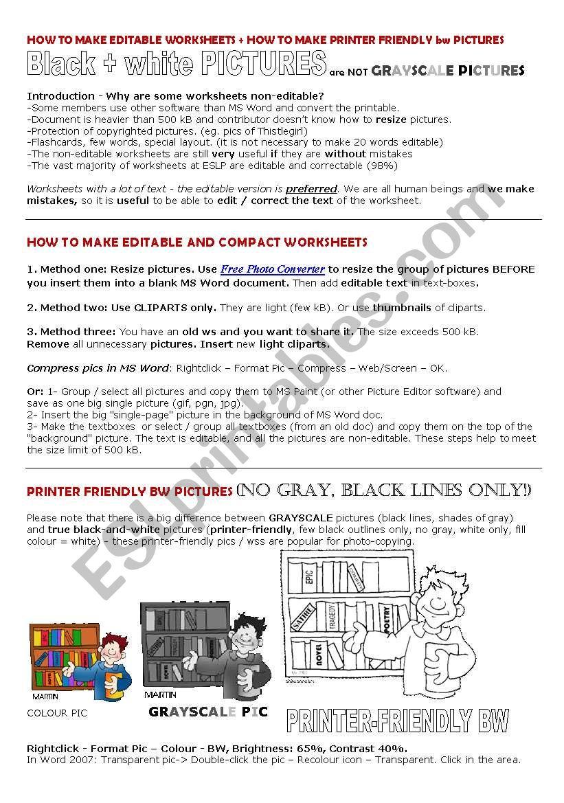 Compact Editable BW printer-friendly Worksheets