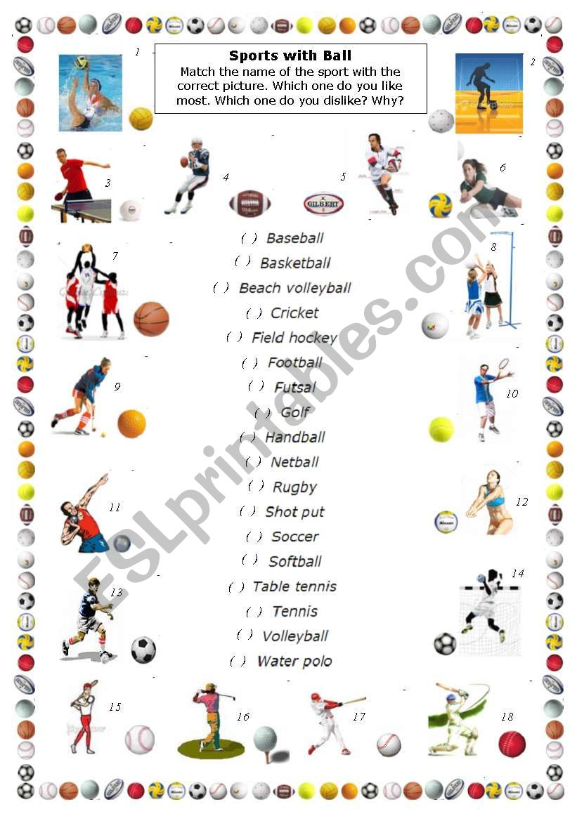 Sports with Ball part 2 worksheet