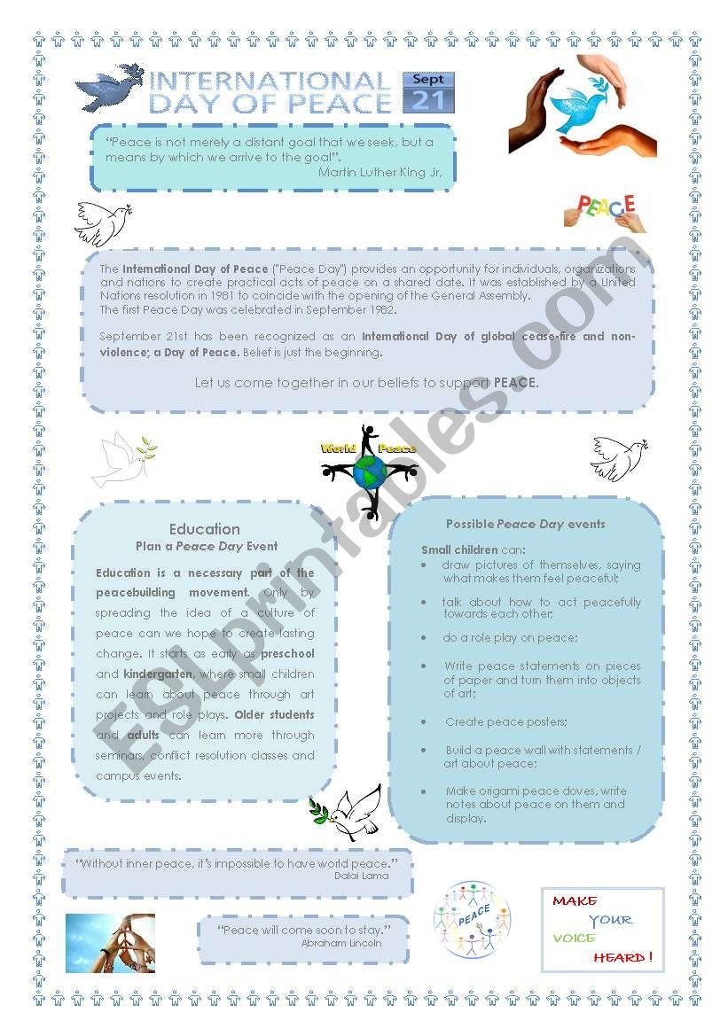 World Peace Day - 21st September - ESL worksheet by Nelinha