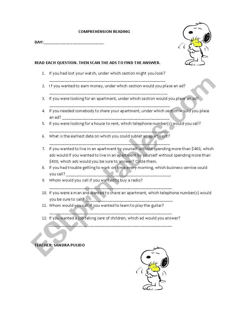 READING COMPREHENSION QUESTIONNAIRE