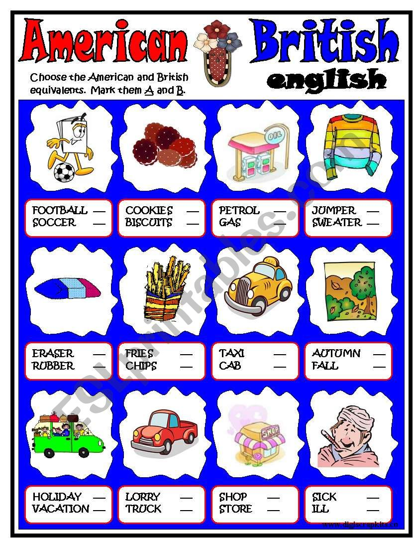 American-British ENGLISH worksheet