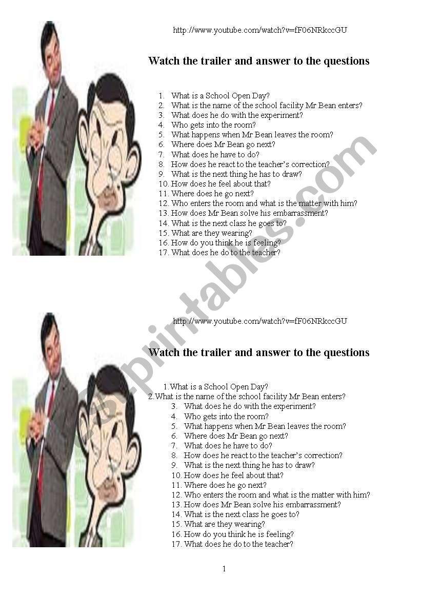 Mr Bean Back to school worksheet