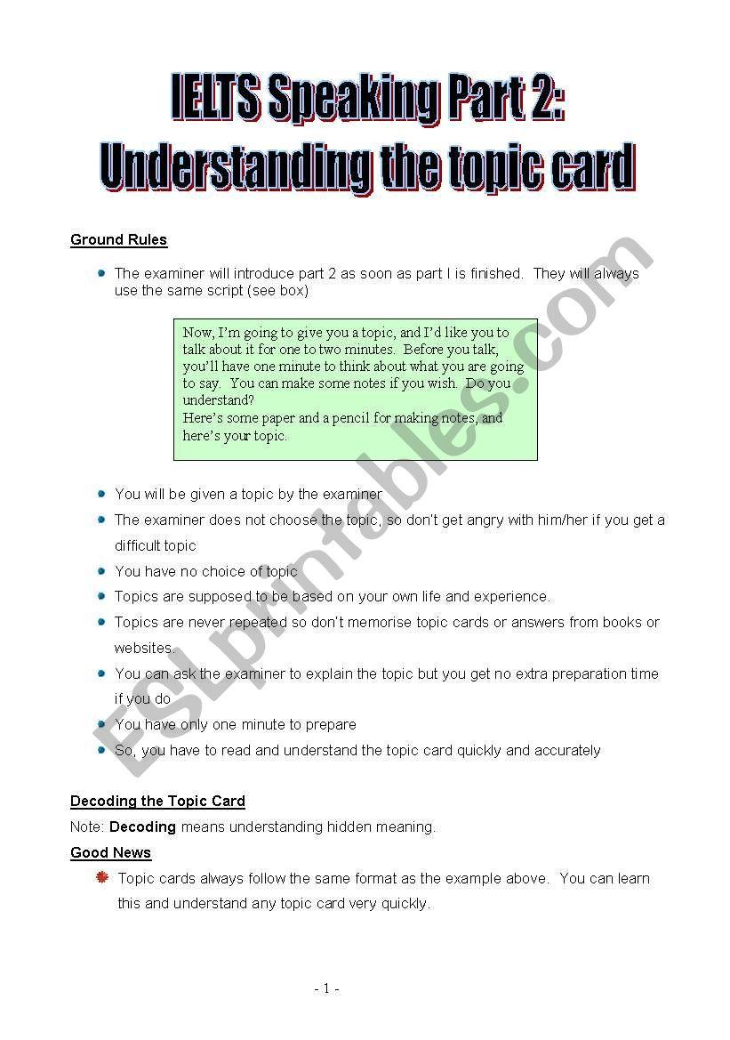 IELTS Speaking Part 2: understanding the topic card