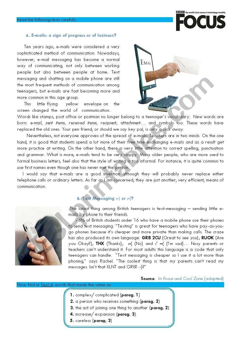 Reading-Listening-Grammar worksheet