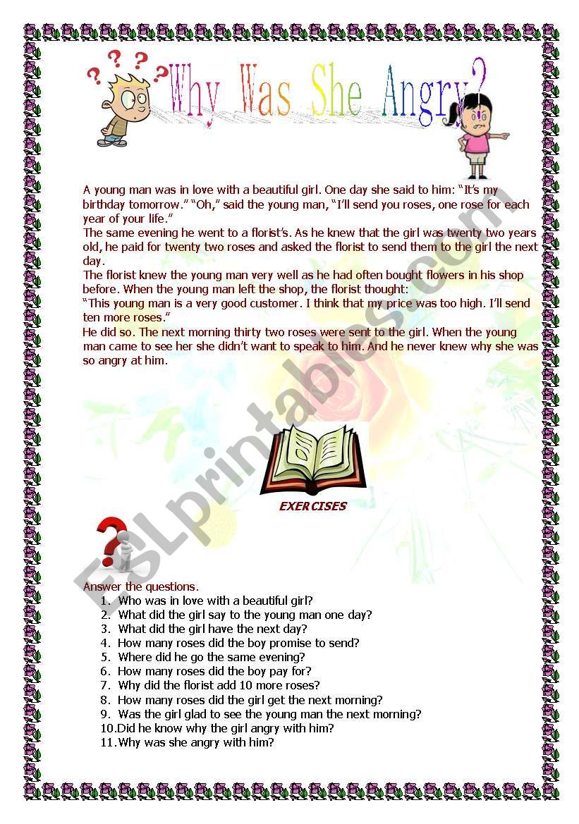 Why was she angry?  worksheet