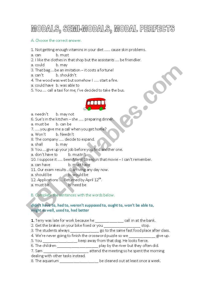 MODAL VERBS/ MODAL PERFECT worksheet