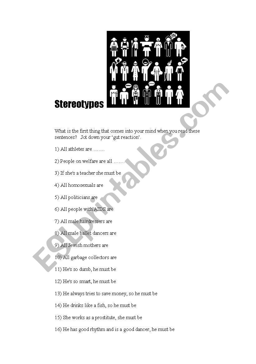 Stereotypes worksheet