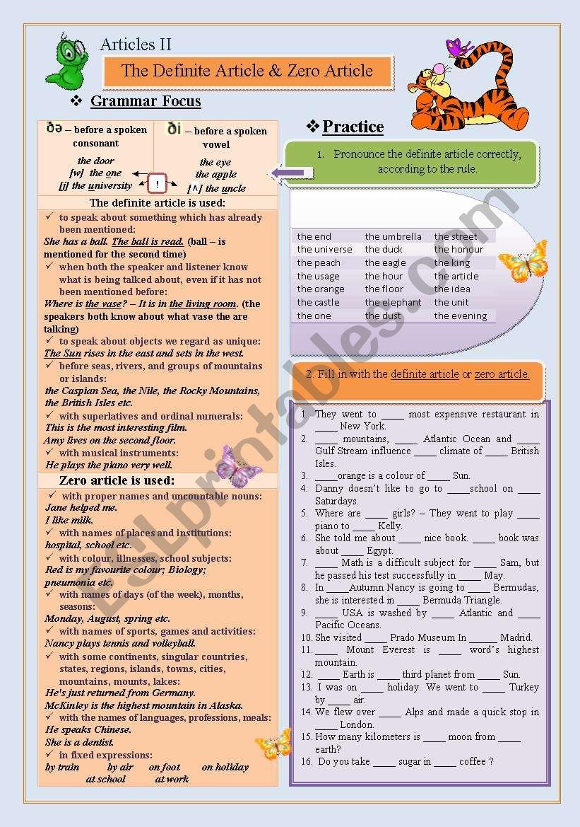 Definite Article  worksheet
