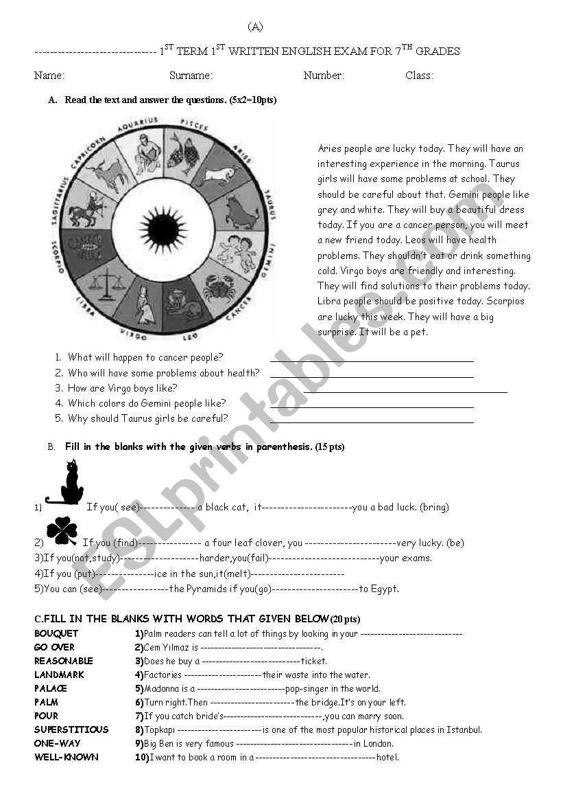 exam for 7th grade worksheet