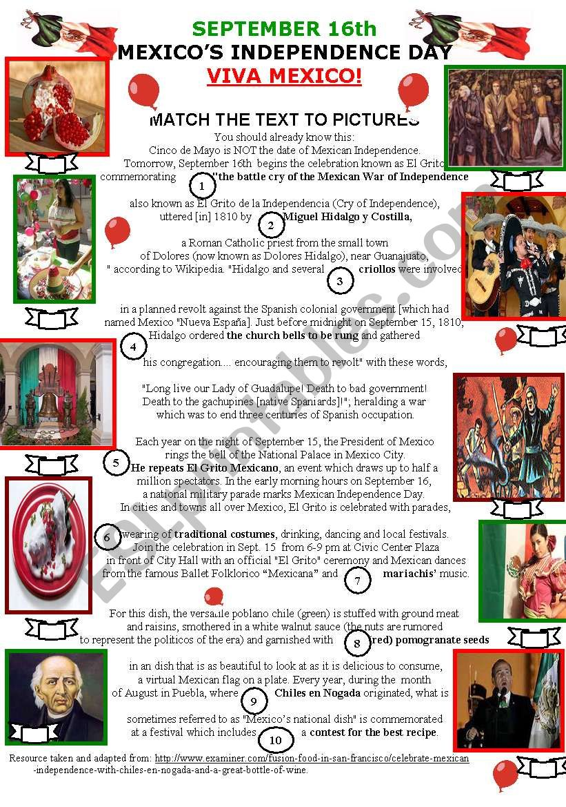 Mexicos Independence Day Esl Worksheet By My Favorite Worksheets
