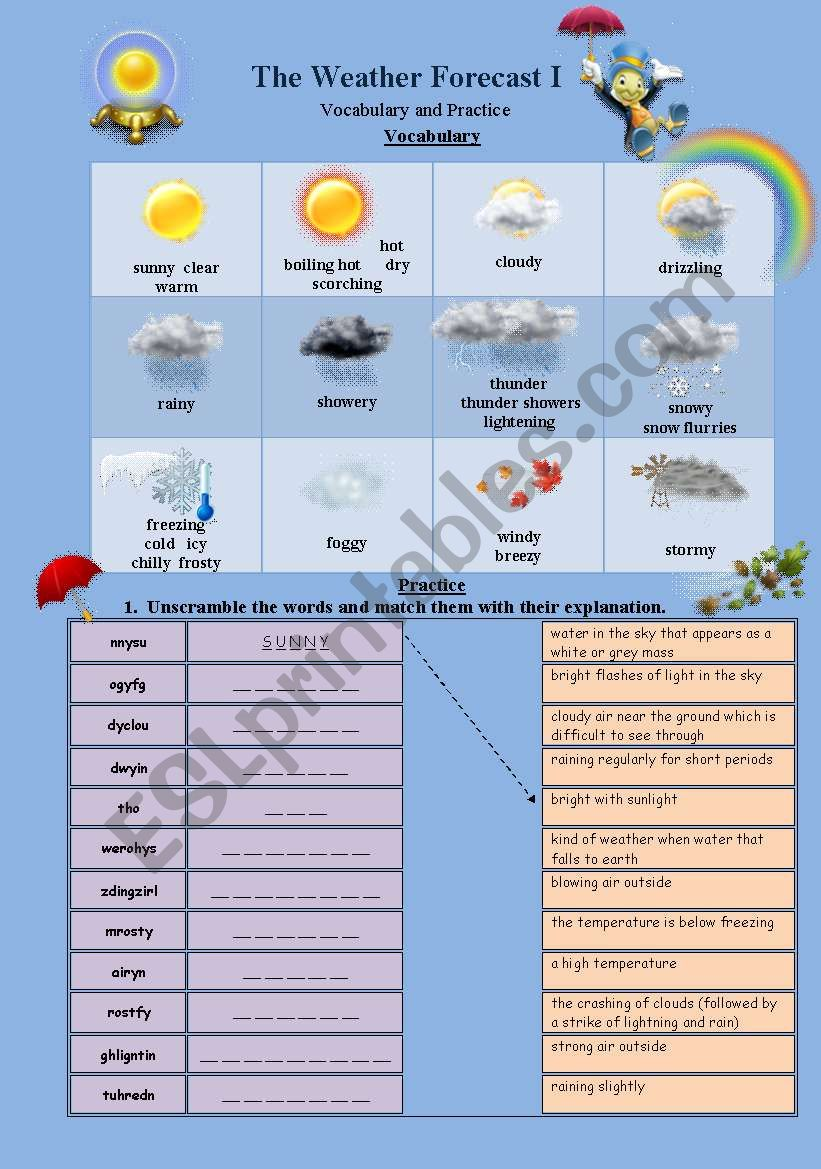 The Weather Forecast Part 1 worksheet