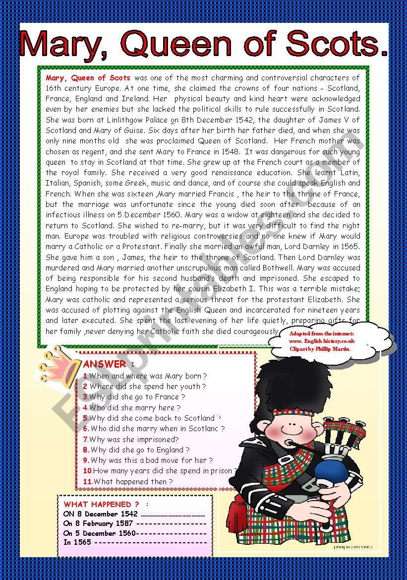 MARY, QUEEN OF SCOTS. worksheet