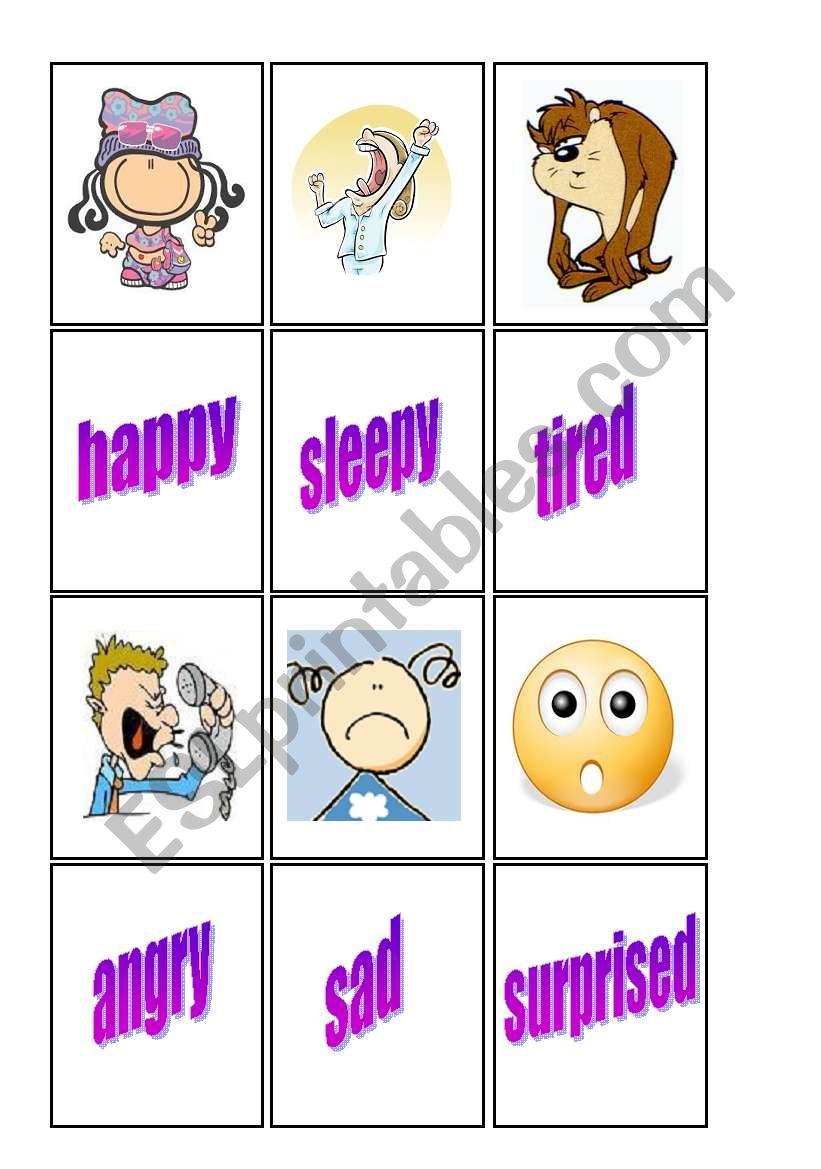 Feelings matching cards 1/2 worksheet