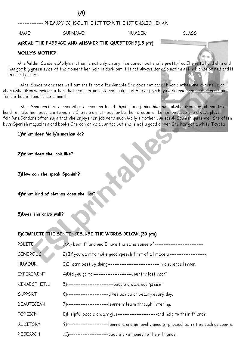 exam for 8th grade worksheet