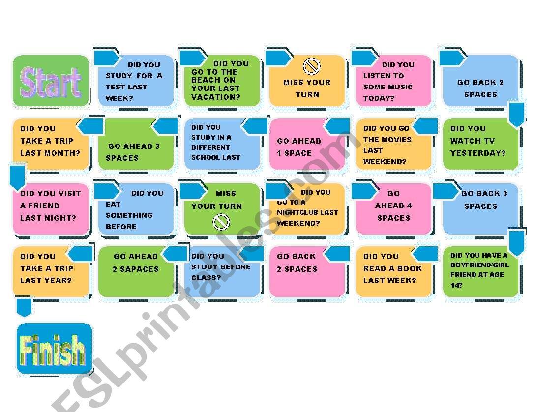 SIMPLE PAST BOARD GAME worksheet