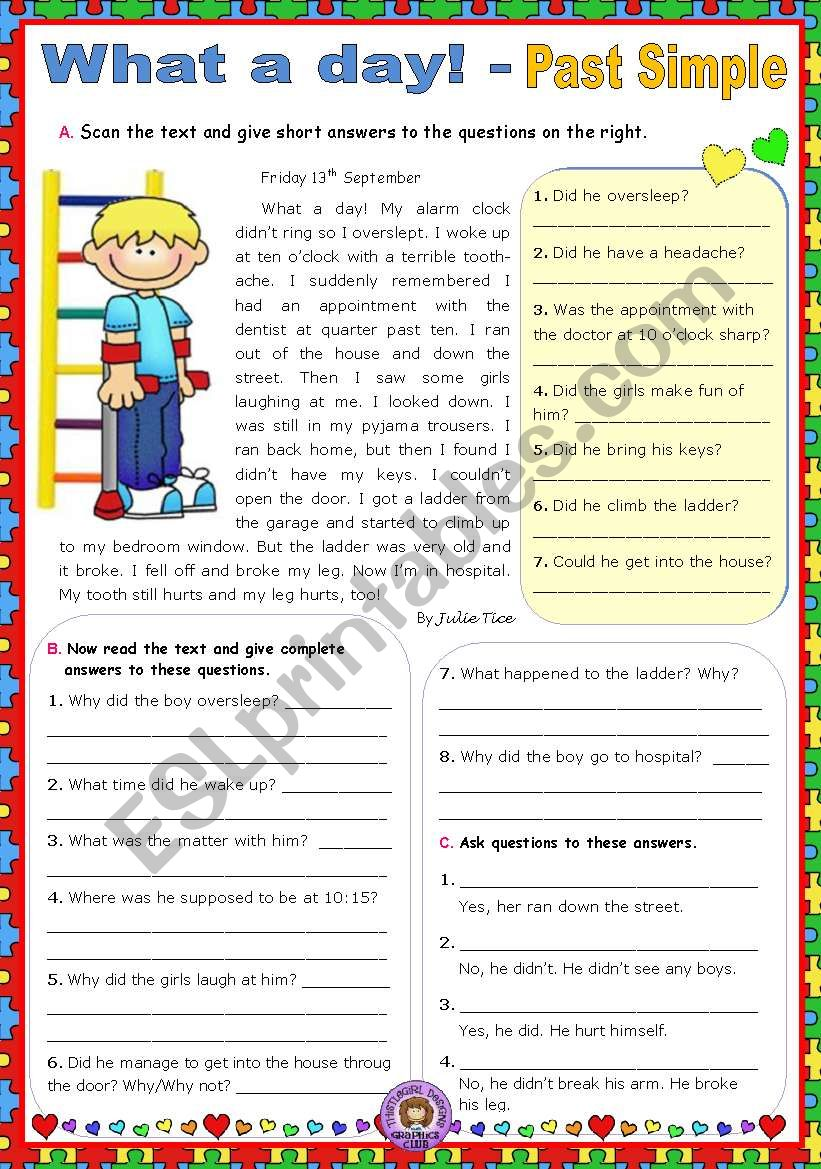 What a day!   -  Past Simple worksheet