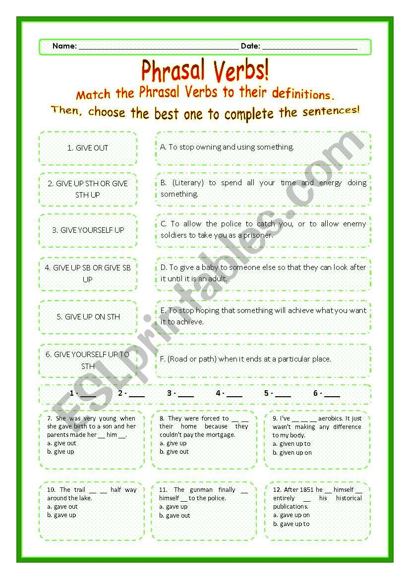 > Phrasal Verbs Practice 58! > --*-- Definitions + Exercise --*-- BW Included --*-- Fully Editable With Key!