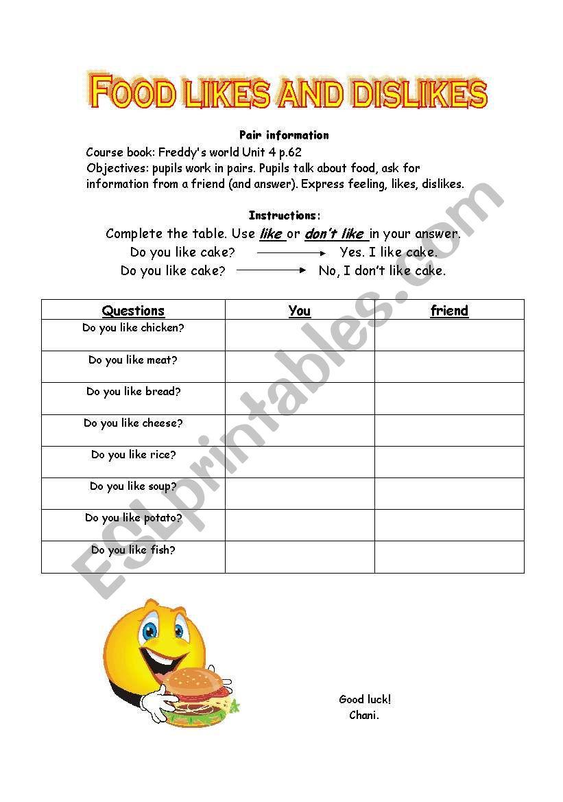 food - likes and dislikes worksheet