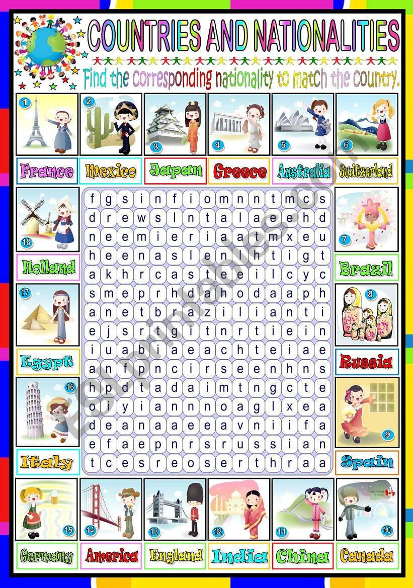 NATIONALITIES- WORDSEARCH (KEY INCLUDED)