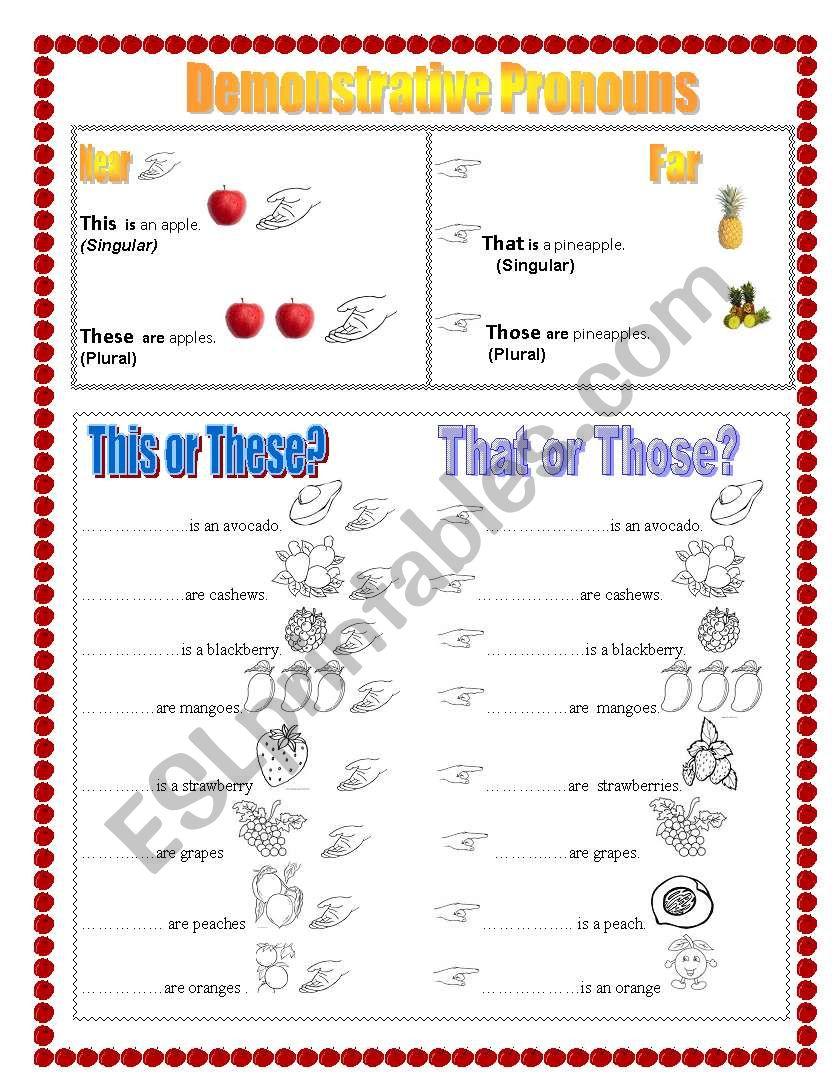 Demonstrative Pronouns using Fruits