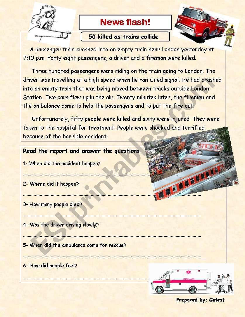 news report worksheet