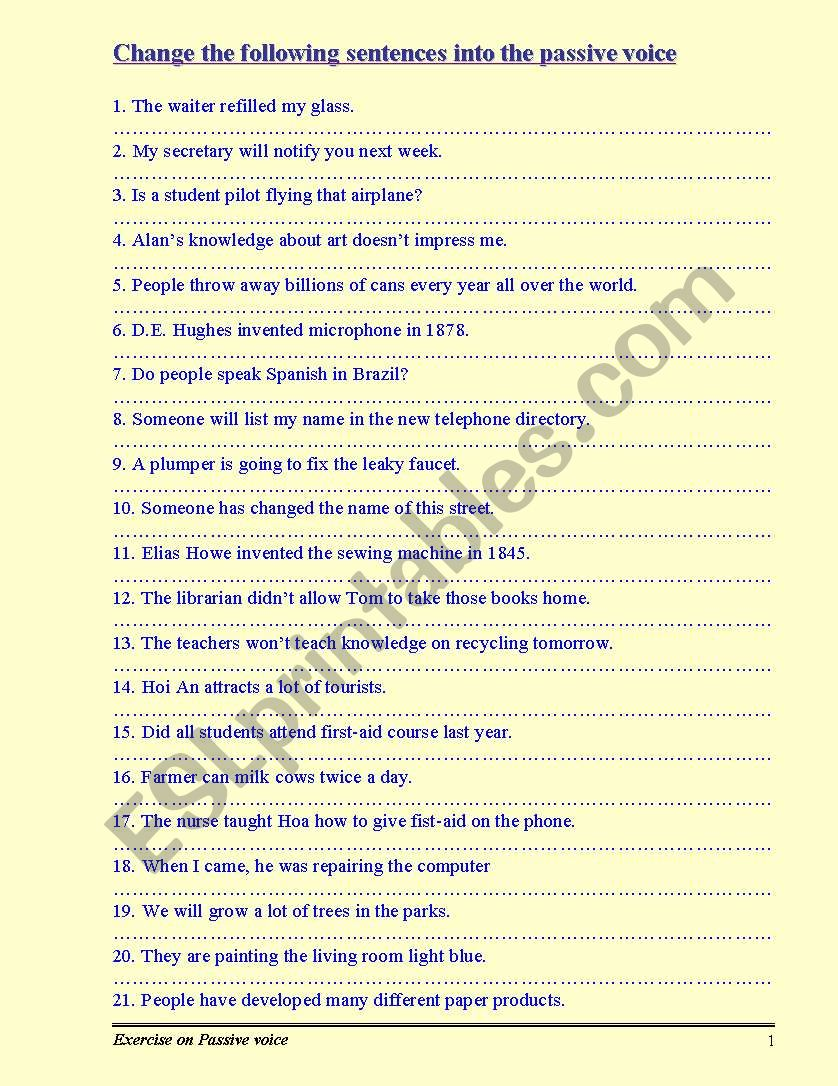 Exercise on Passive voice worksheet