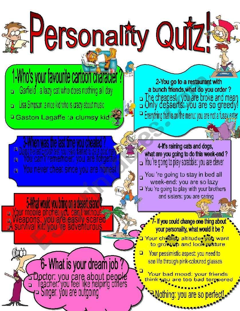 Personality Quiz Esl Worksheet By Edwi