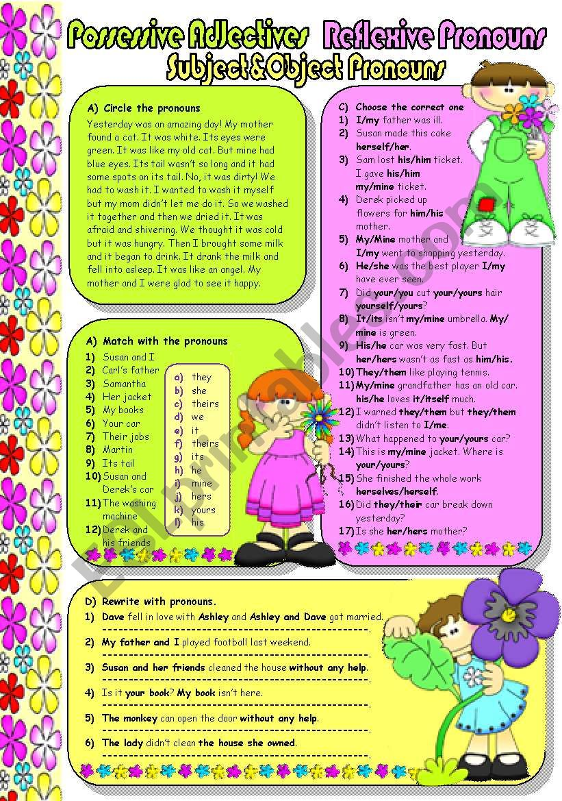 PRONOUNS-3 (B&W included) worksheet