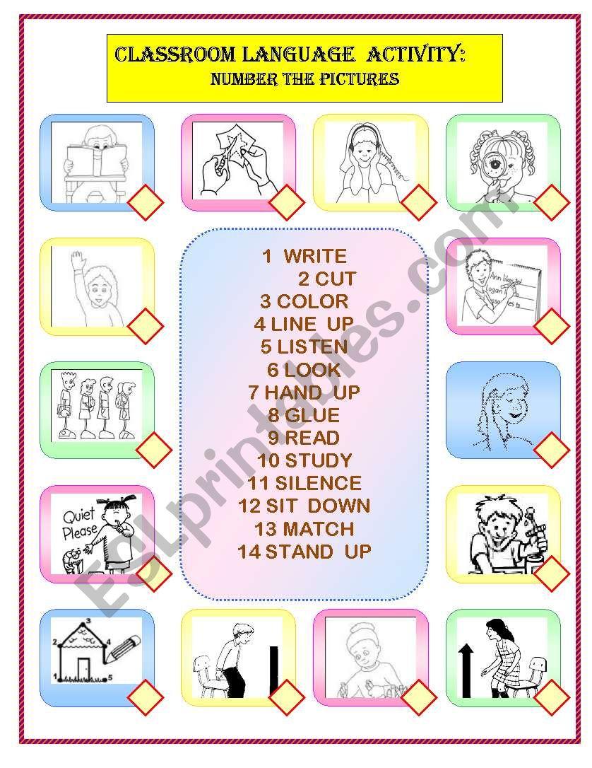 CLASSROOM LANGUAGE MATCHING worksheet