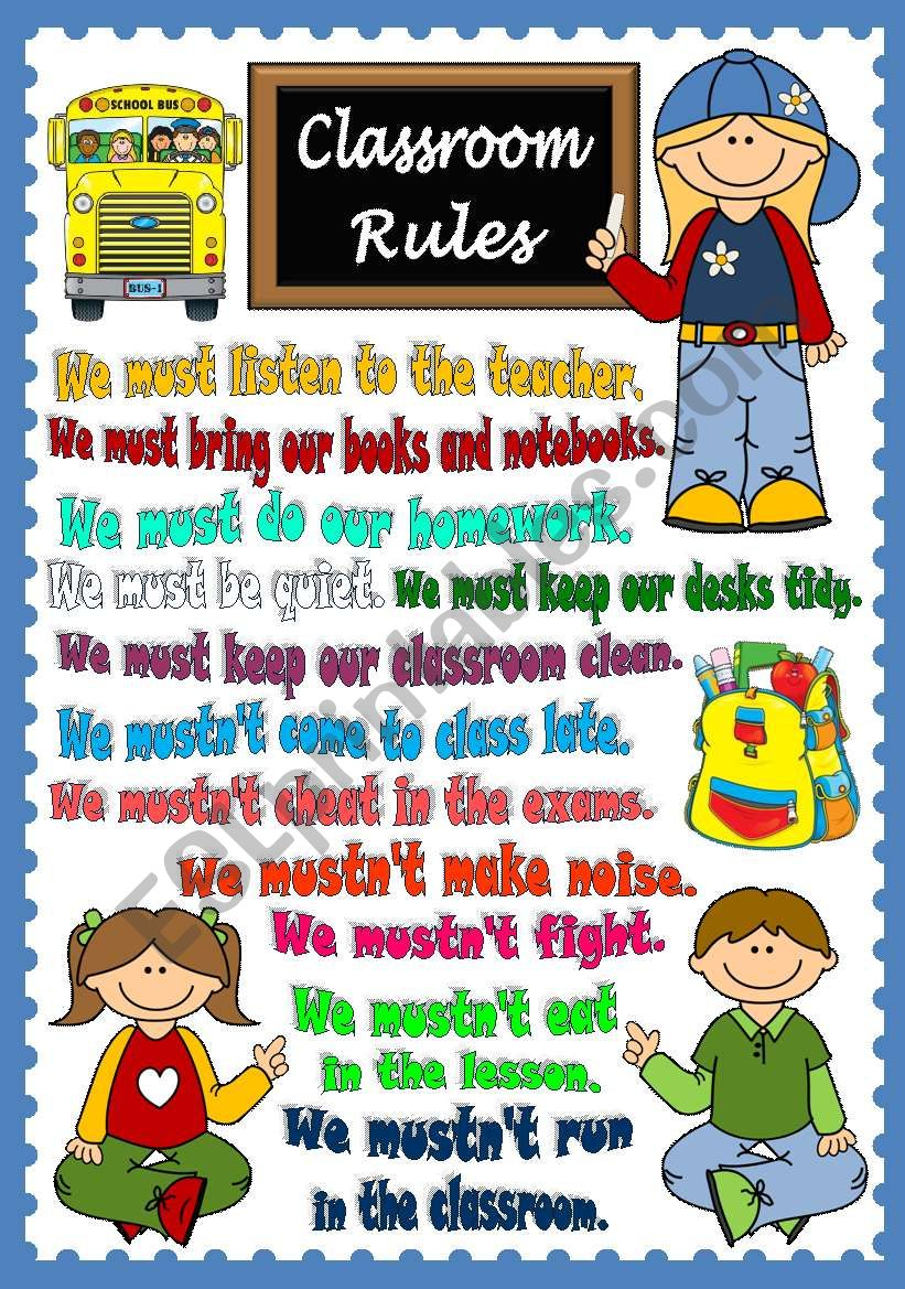 Classroom Rules - POSTER worksheet