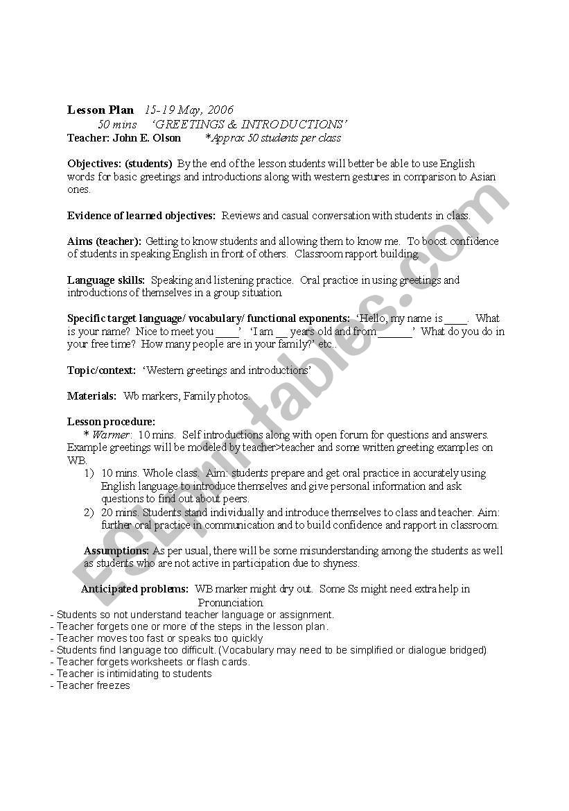 Greeting and introductions lesson plan esl worksheet by katfishjohn greeting and introductions lesson plan m4hsunfo