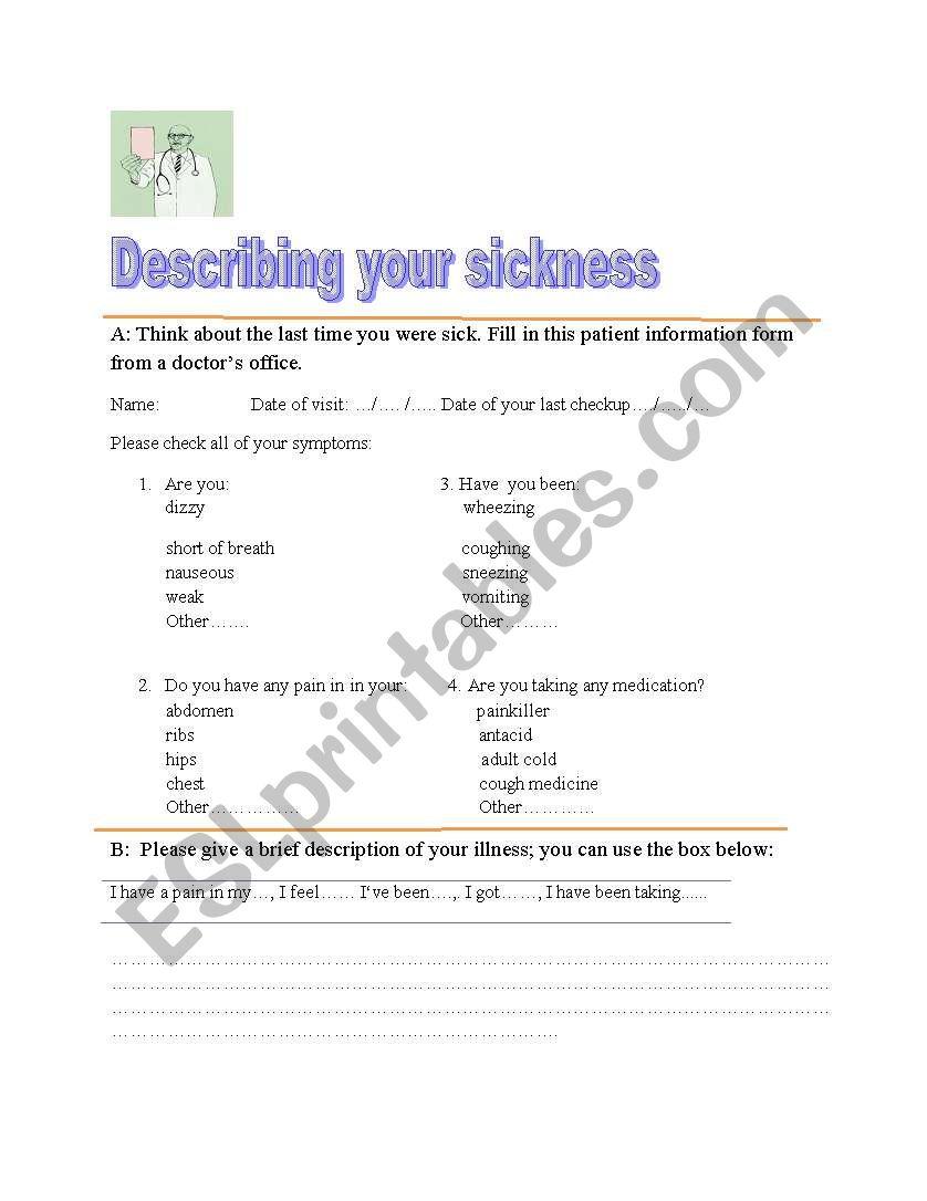 Describing your sickness worksheet