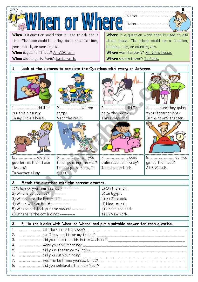 When or Where? worksheet